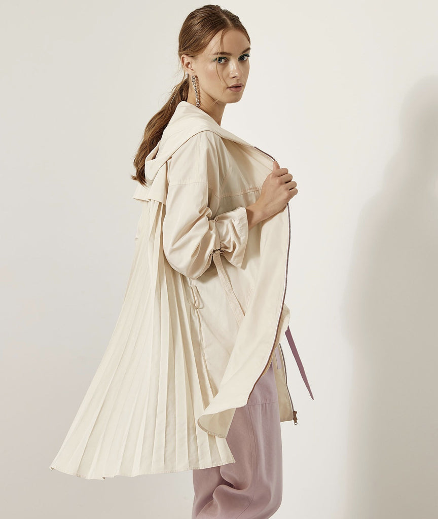 Cream Pleated Coat