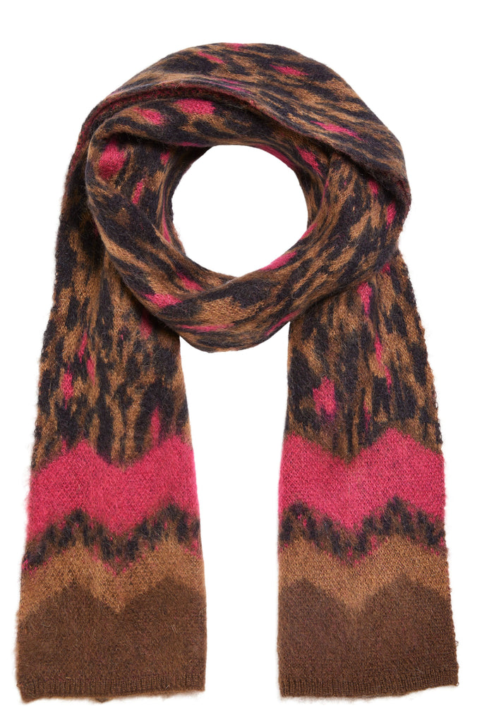 Animal Print Wool Mix Scarf