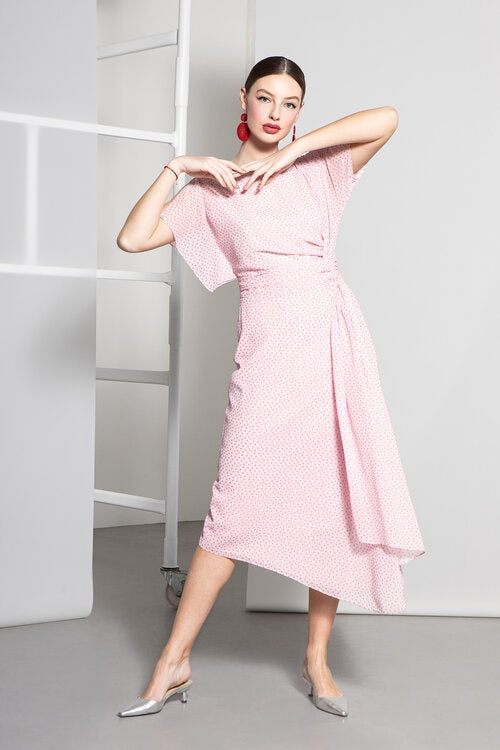 Emiliana Dress in Pink Dot