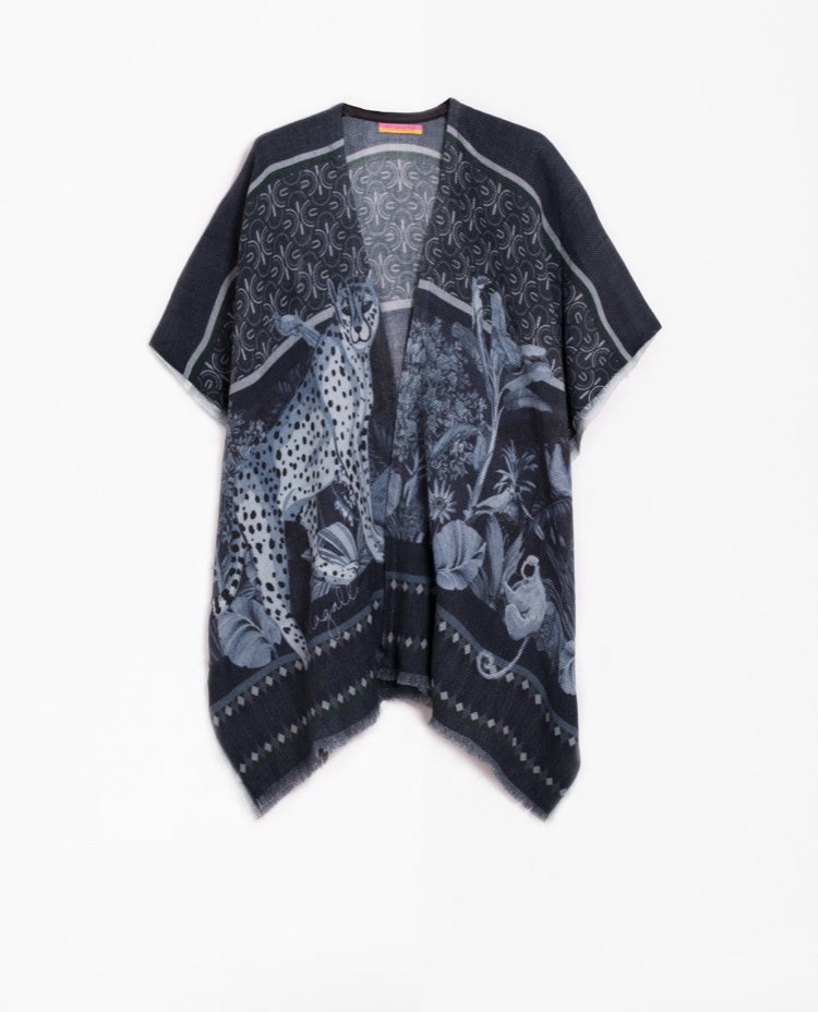 Anastasia Poncho in Navy and Blue Print