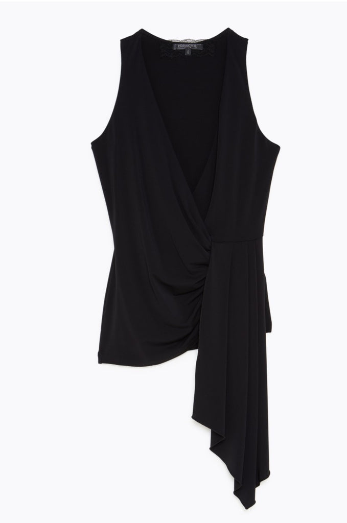 Black Top with Draped Front
