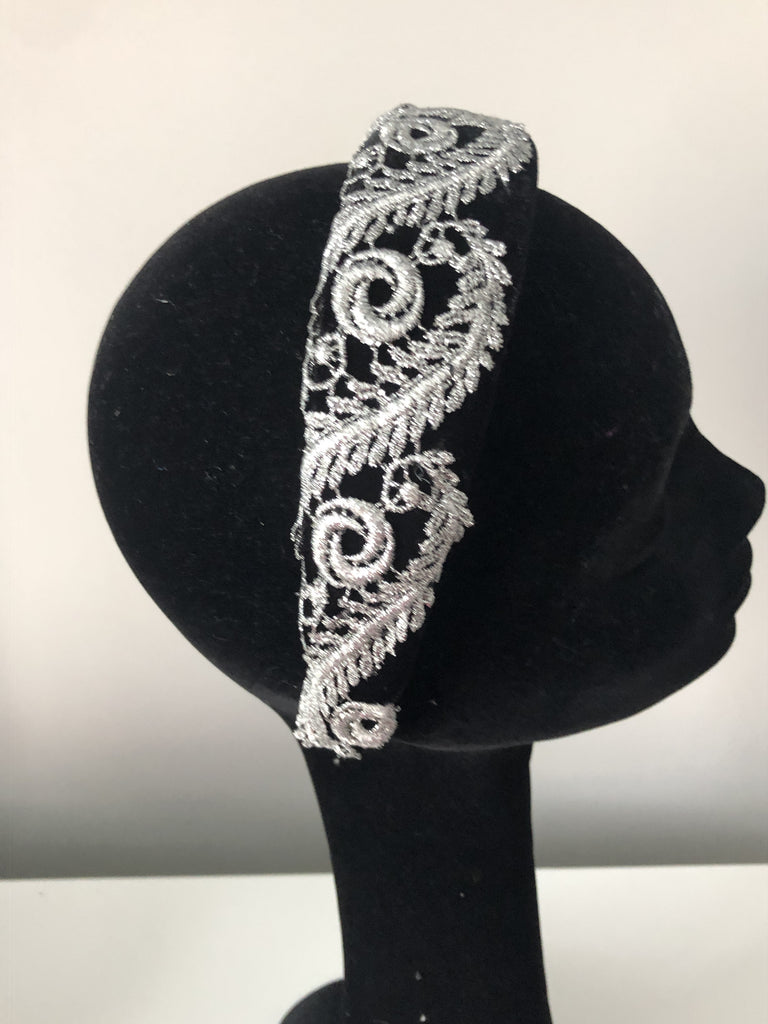 Coco Headpiece in Black Velvet Embellished with Silver Lace