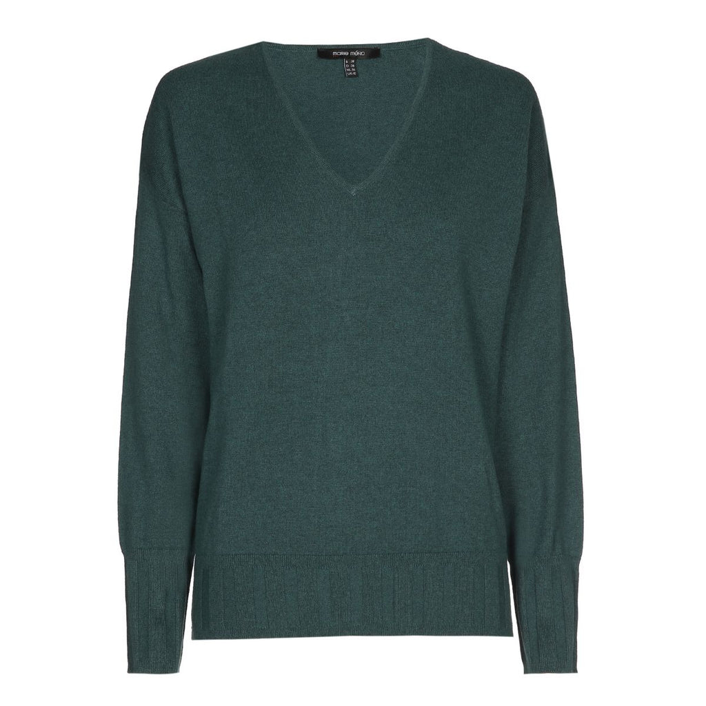 Green Vneck Sweater with Ribbed Waist and Cuffs
