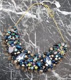 Small Collar - Blue Aqua & Gold with Gold Lace