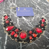 Small Collar - Black Red & Gold with Gold Lace