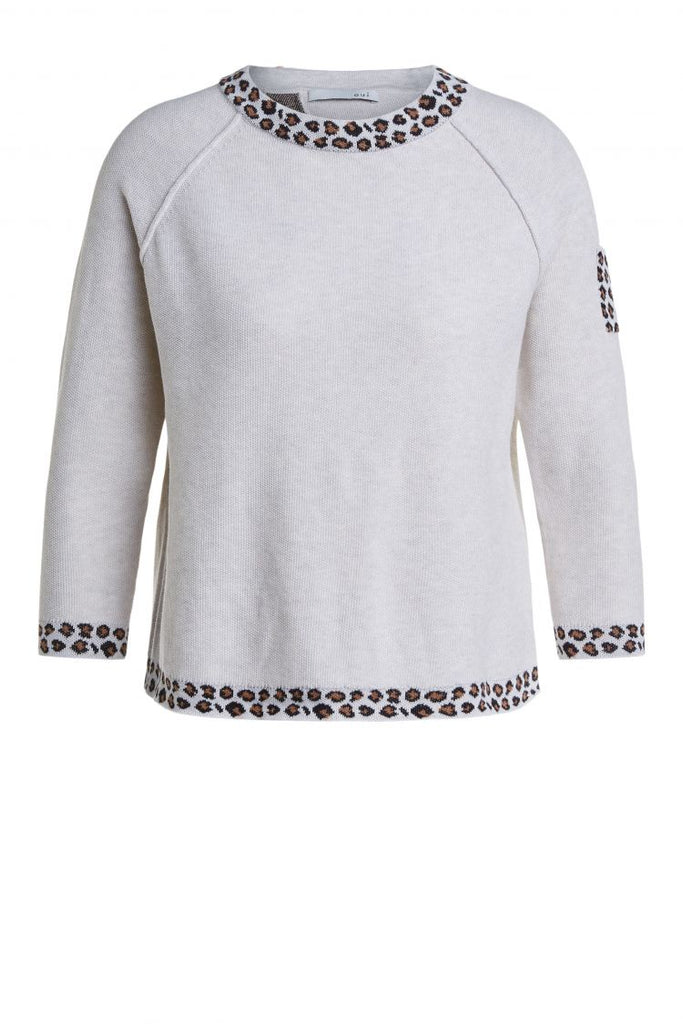 Beige Sweater with Leopard Trims and Pocket