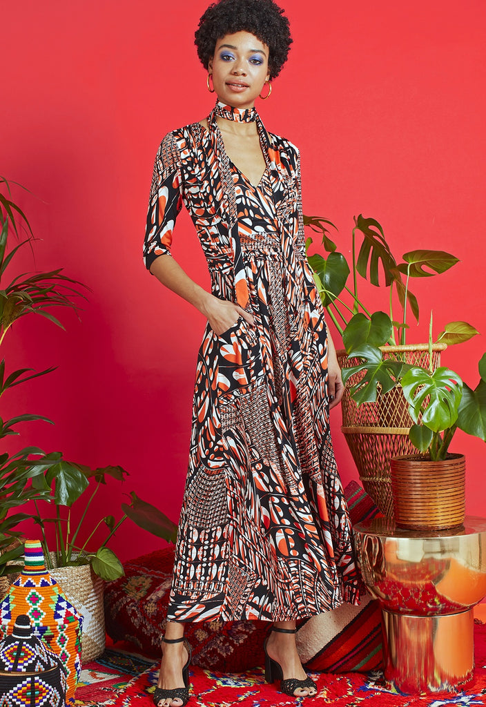 Crawford Dress in Vega Orange Print