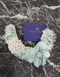 Small Collar - Pearl Mint Silk Flower with SiIver Lace