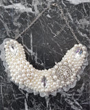 Small Collar - Pearl & Silver with Silver Lace