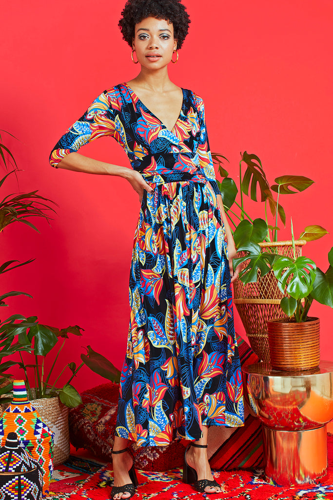 Crawford Midi Dress in Portia Blue Print