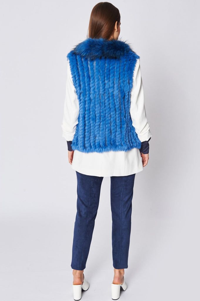Royal Blue Fox and Coney Fur Gilet With Collar Feature