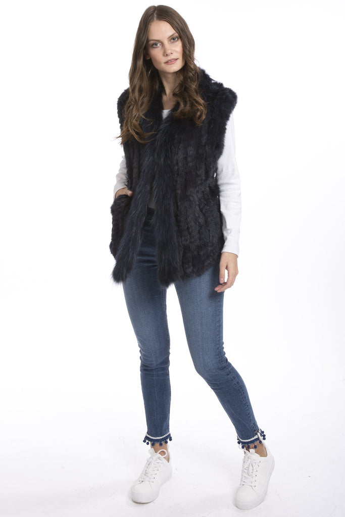 Navy Fox and Coney Fur Gilet With Collar Feature