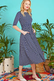 Joni Midi Dress in Dot Navy