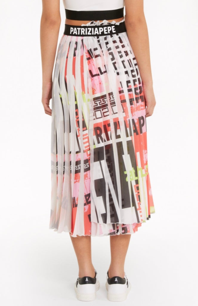 Pleated Skirt in Multicoloured Print
