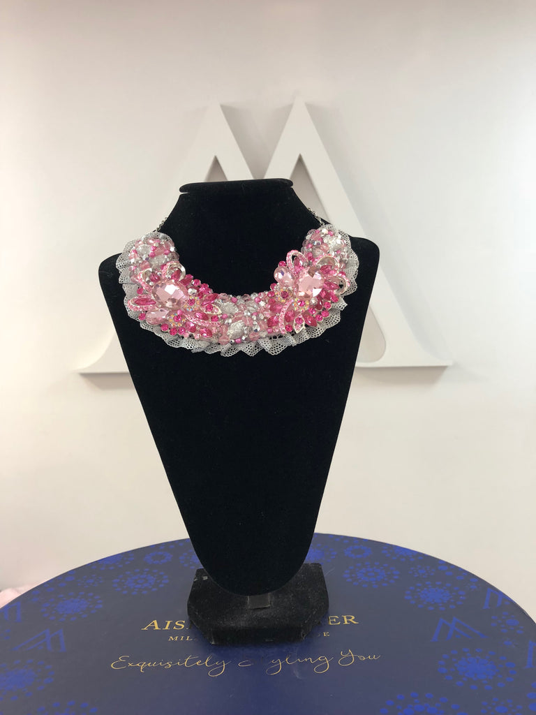 Small Collar - Pink & Silver with Silver Lace