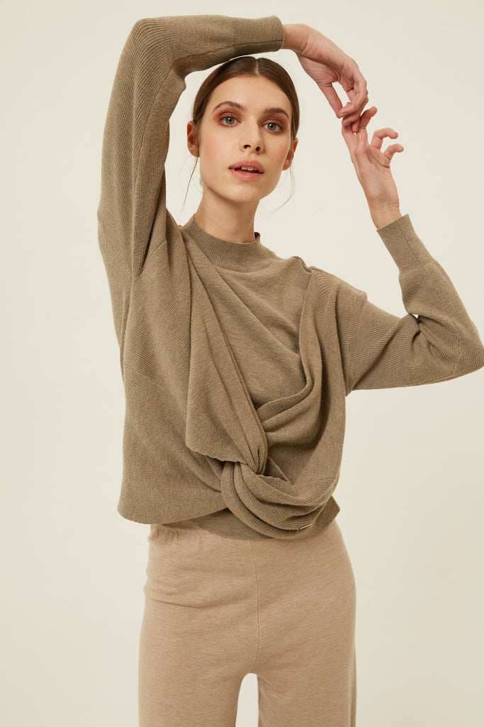 Lantern Top in Taupe
