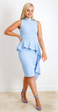 Loren Dress in Pale Blue with Silver Sequin Neckline