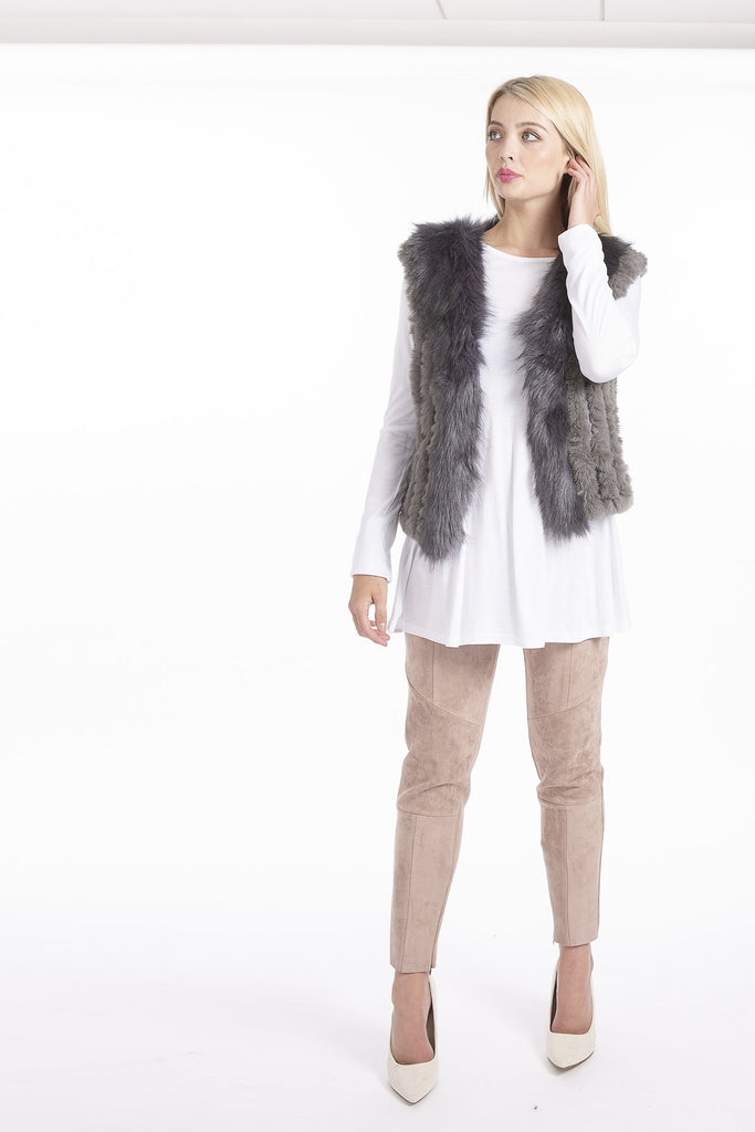 Dark Grey Faux Fur Short Gilet