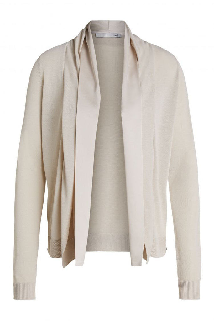 Beige Knit Cardigan with Satin Trim