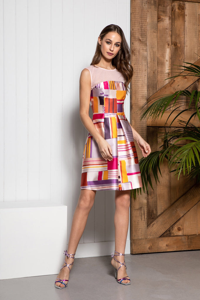 Lux Dress in Geometric Print