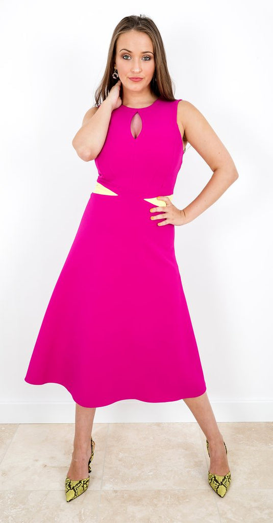 Claudette Dress in Pink with Lemon Inserts