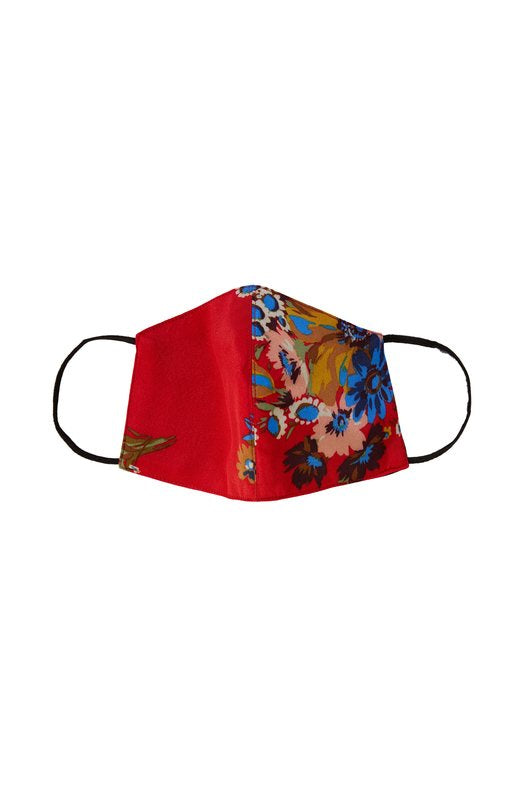 Red Floral Reversible Mask