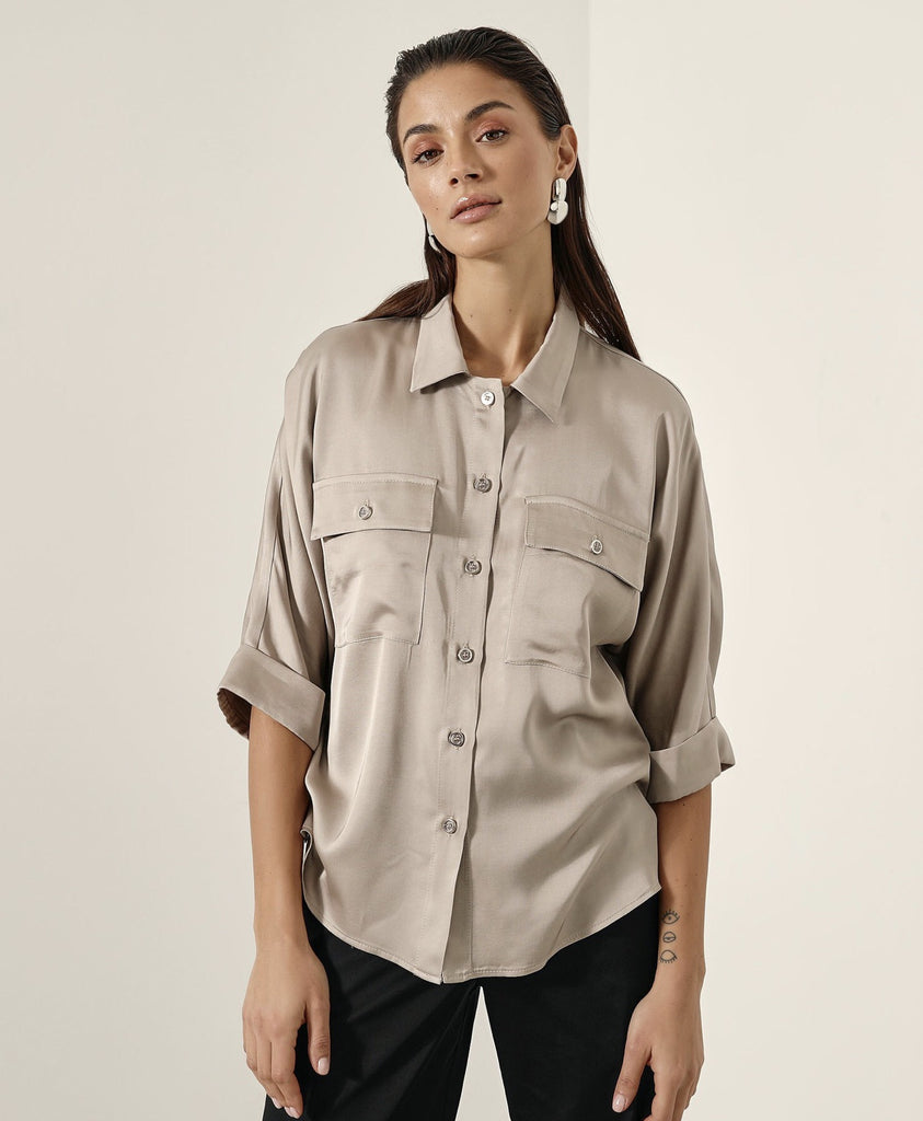 Stone Satin Effect Shirt