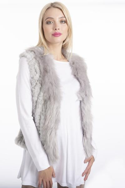 Light Grey Faux Fur Short Gilet