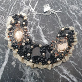 Small Collar - Black Gold & Copper with Gold Lace