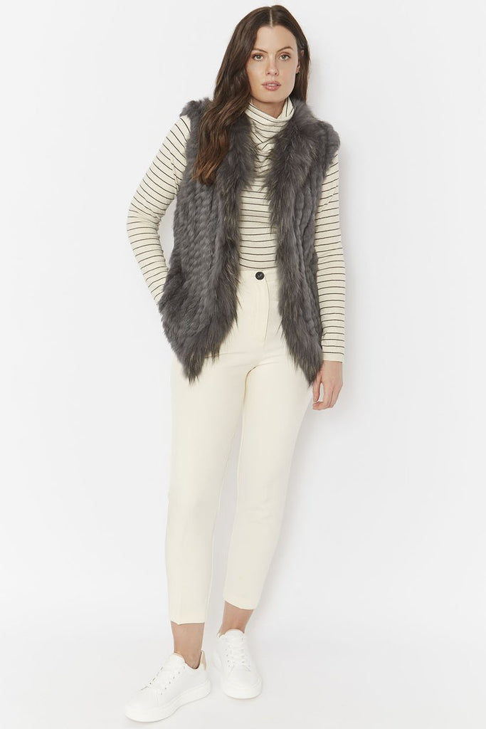 Dark Grey Fox and Coney Fur Gilet with Collar Feature