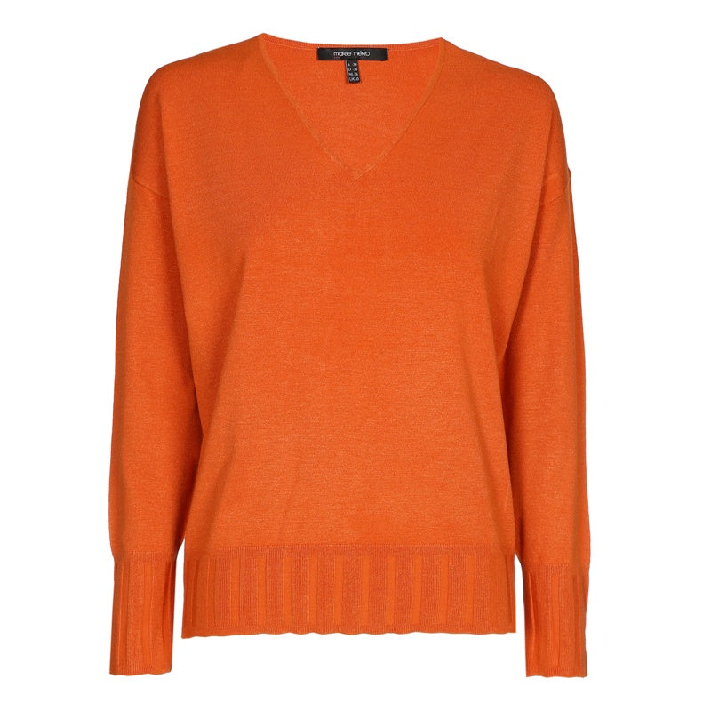 Rust Coloured VNeck Sweater with Ribbed Cuffs and Waist