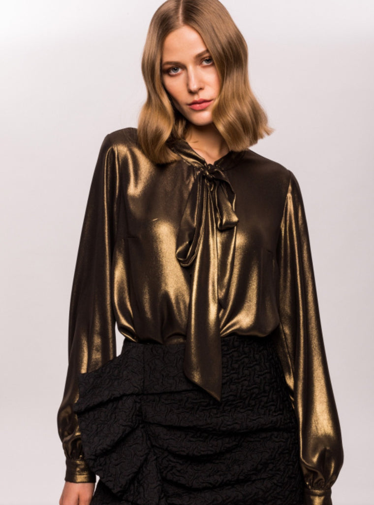 Gold Foil Chiffon Pussy Bow Blouse