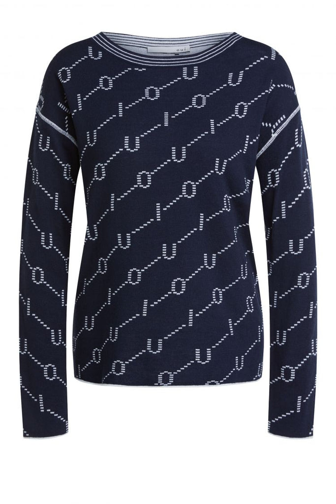 Navy Reversible Sweater with Ivory OUI print