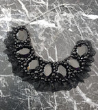 Small Collar - Black with Black Lace