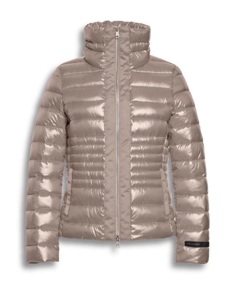Tape Puffer Jacket in Beige