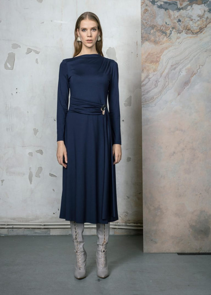 Navy Jersey Dress with Funnel Neck and Ruched Belt