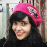 Aisling Maher Pink Angora Beret with Pink Silver and Gold Iris Embellishment