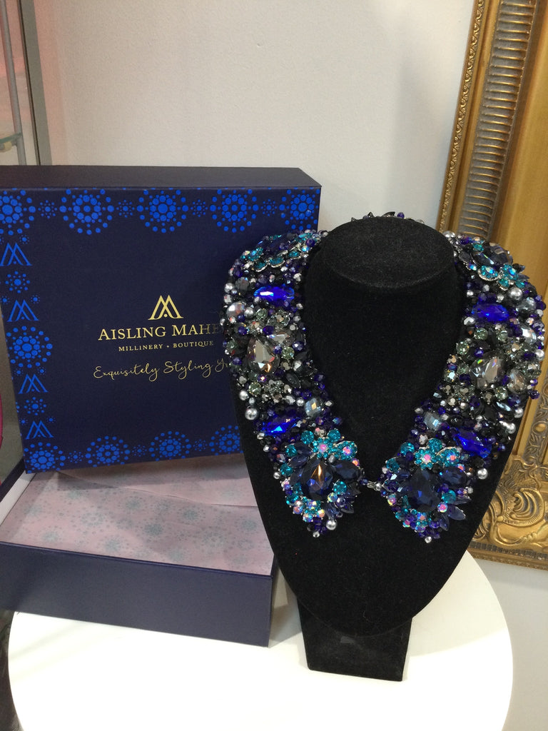 Large Collar - Navy, Black, Blue Teal and Pewter Crystals