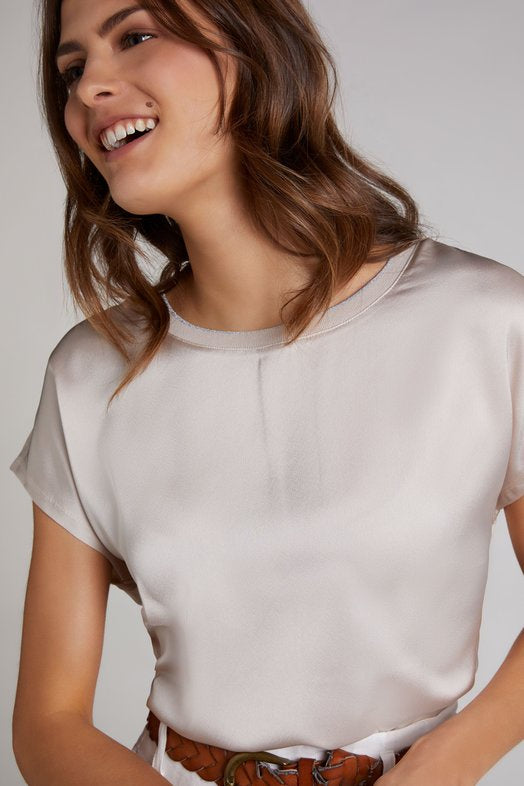 Beige Top with Silk Feel Front and Jersey Back