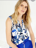 Edna Top in Deep Blue Jungle Print