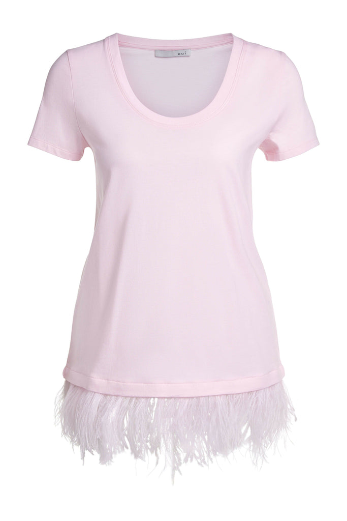 Pale Pink Tshirt With Feather Trim