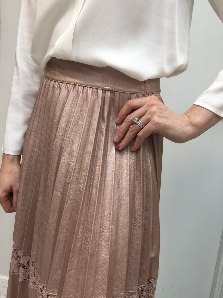 Rose Gold Lace And Leather Skirt