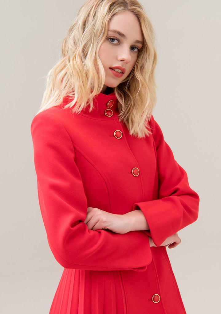 Red Coat with Pleated Back