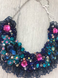 Small Collar - Blue & Pink with Navy Lace