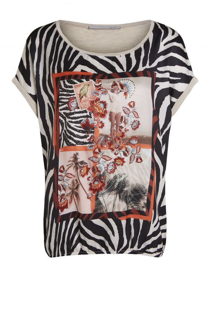 Zebra Print Top with coral accents