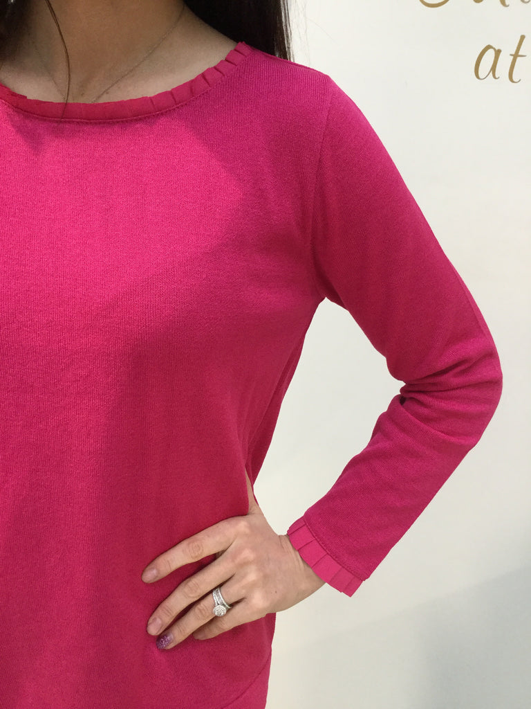 Raspberry Sweater with Pleated Detail at the Neck