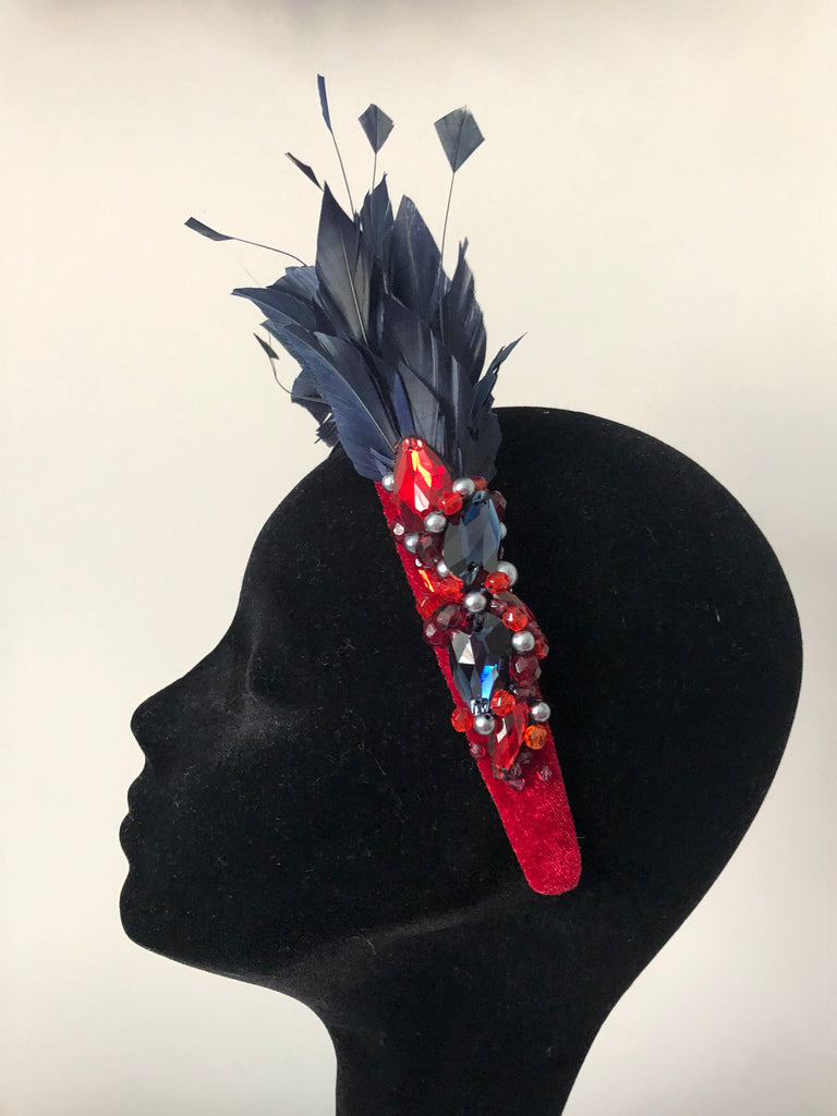 Blair Headpiece in Wine Navy and Pewter Crystal Accents