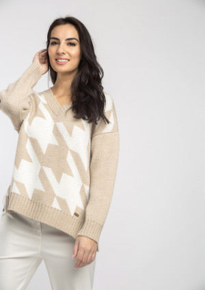 Beige and Ivory Houndstooth Sweater