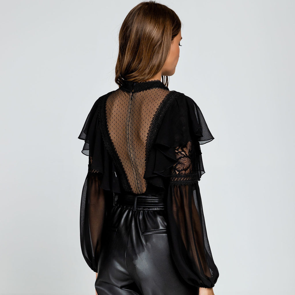 Lace and Sheer Panelled Bodysuit