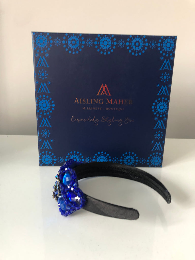 Plumeria Headpiece in Royal Blue on a Black Satin Band